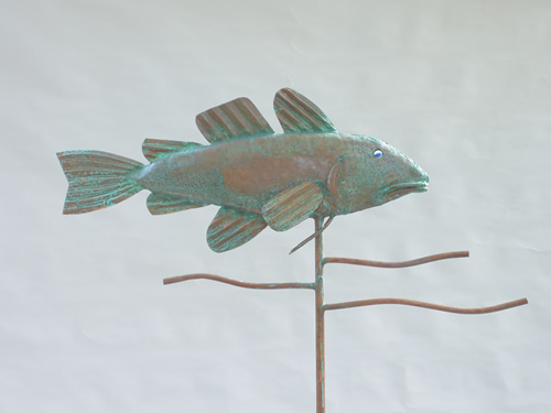 Copper Cod Fish Weathervane